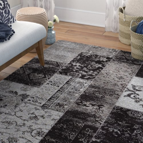 World Menagerie Rosmore Velour Grey Area Rug Area Rugs Rugs