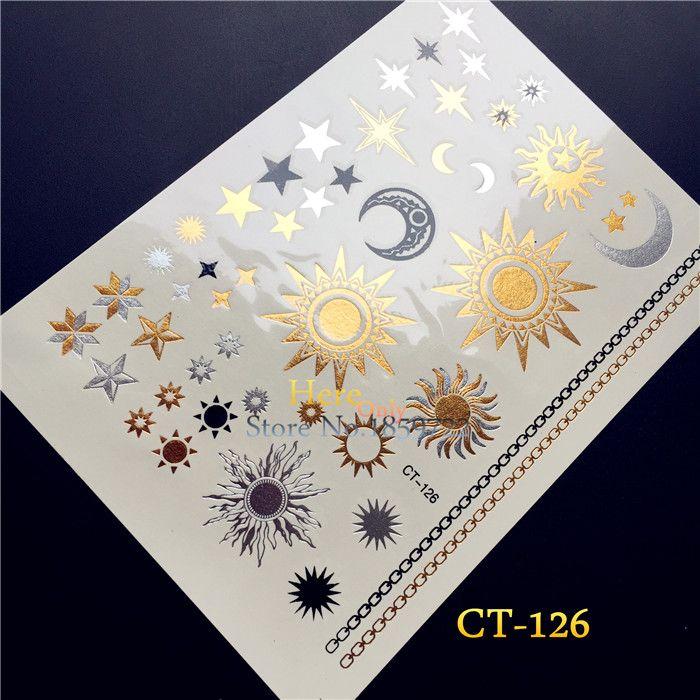 1 PZ Oro Argento Tattoo India Sun Moon Stars Impermeabile Autoadesivo Del Tatuaggio Temporaneo HCT126 Nero Braccialetto Chain di Disegno Flash Tatuaggi