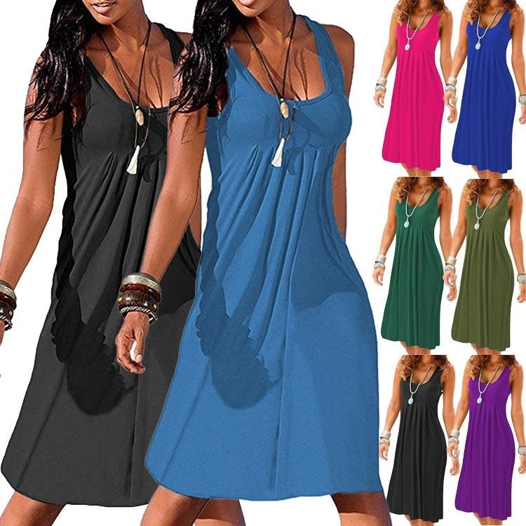 97e13fb720 Round Neck Women Summer Dresses Shift Beach Cotton-Blend Dresses –  Pink-Always