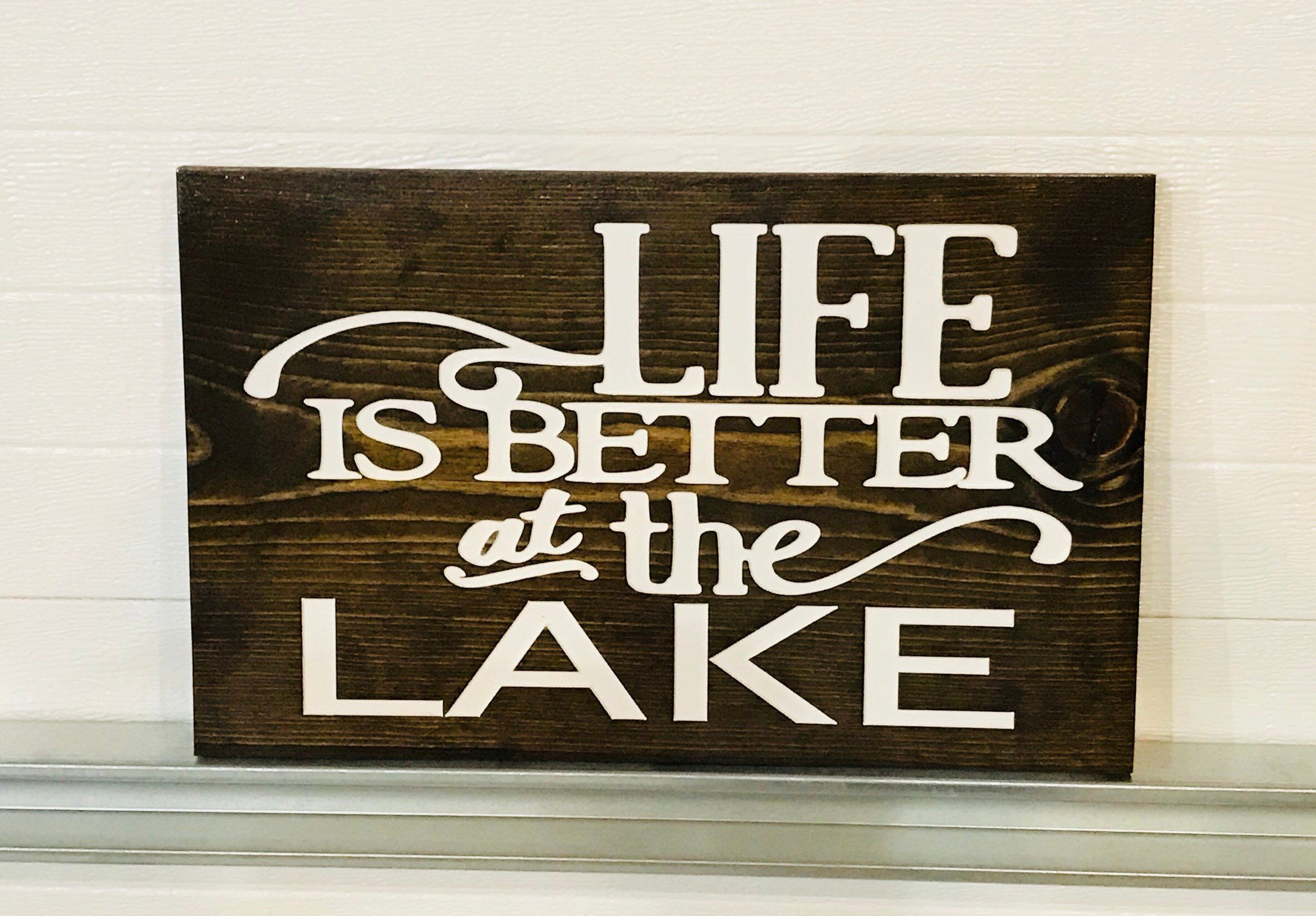 Engraved Life Is Better At The Lake Wall Art Decor