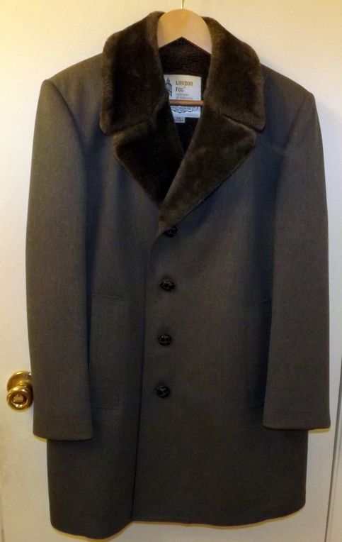 Mens Vintage London Fog Gray Wool Trench Coat Size 38