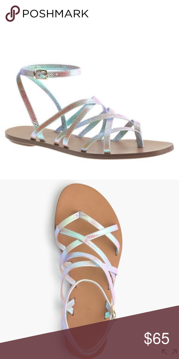 b2d4c0f422c1 Jcrew Clara iridescent strapey sandal PRODUCT DETAILS These strappy summer  sandals are made from a special metallic foil leather from Italy that  reminds us ...