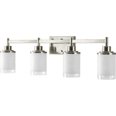 Progress Lighting Alexa Collection 31 In 4 Light Brushed Nickel Bathroom Vanity Light With Glass Shades P2998 09 The Home Depot Progress Lighting Brushed Nickel Bathroom Bathroom Vanity Lighting