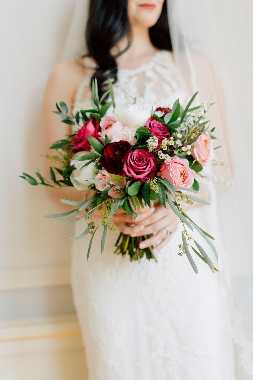 raspberry tones with a fresh mint feel   Flower bouquet ...