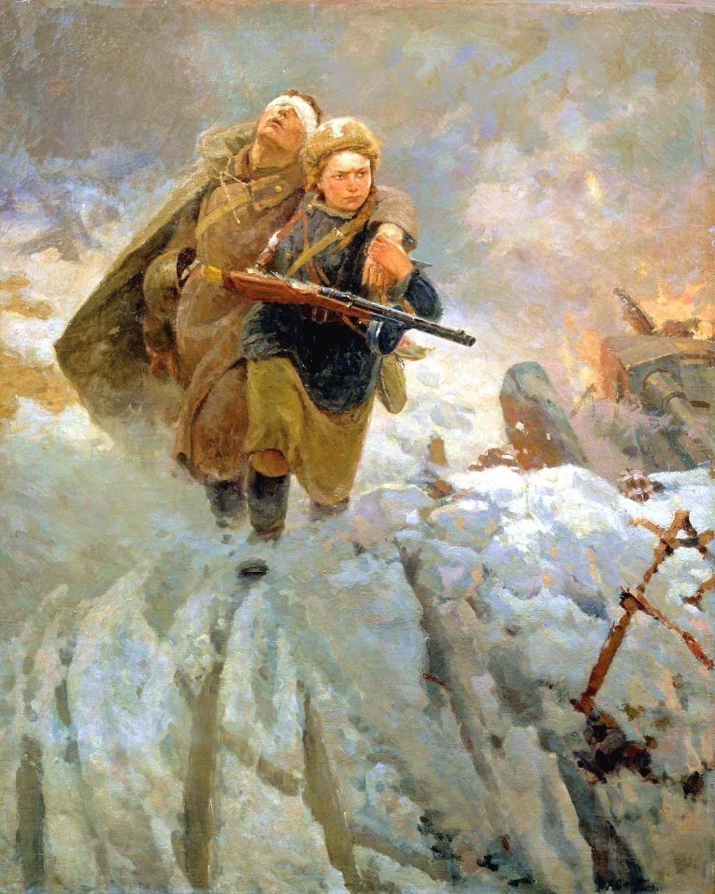 Marat Samsonov Little Sister Soviet Art War Art Military Art