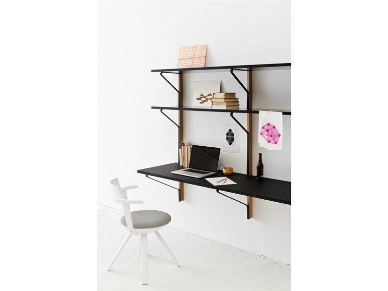 Scaffale a parete con scrivania integrata KAARI | Scaffale a parete ...