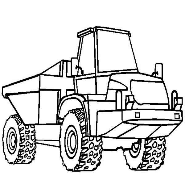 Trucks, : single-axle-semi-trailer-dump-truck-coloring
