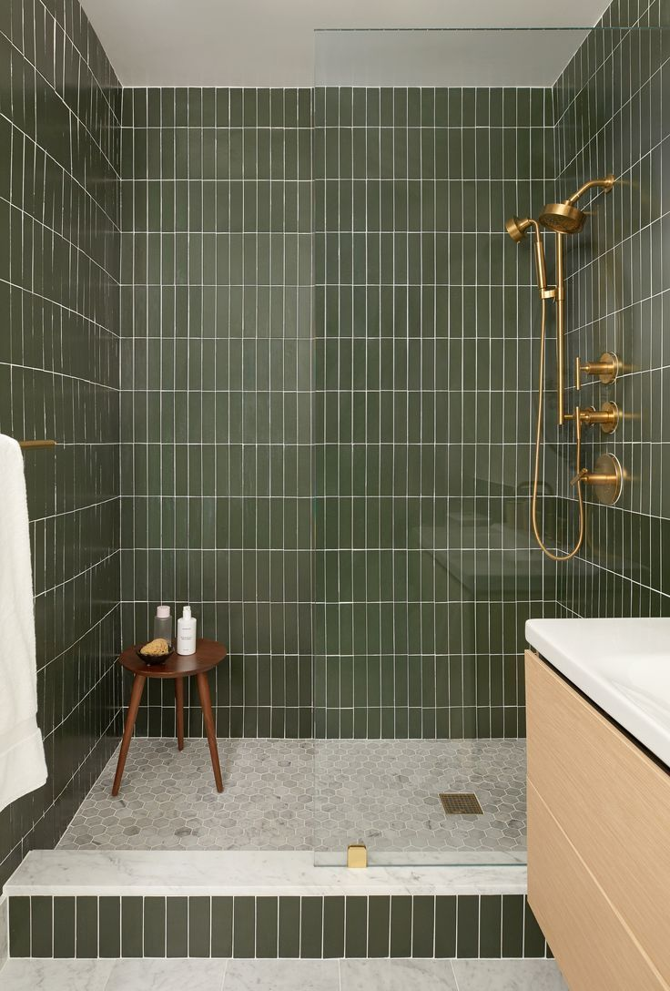 Bathrooms; Shower; Interiors; Green Subway Tiles; renovation; brass hardware; go... #bathroomtileshowers