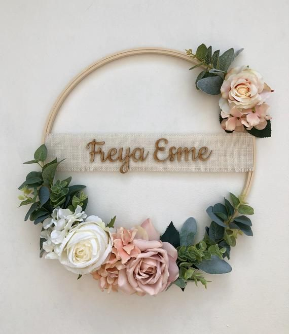 Photo of Floral wreath – hoop wreath, wedding wreath, nursery wreath, flower girl bridesmaid hoop wreath, wal