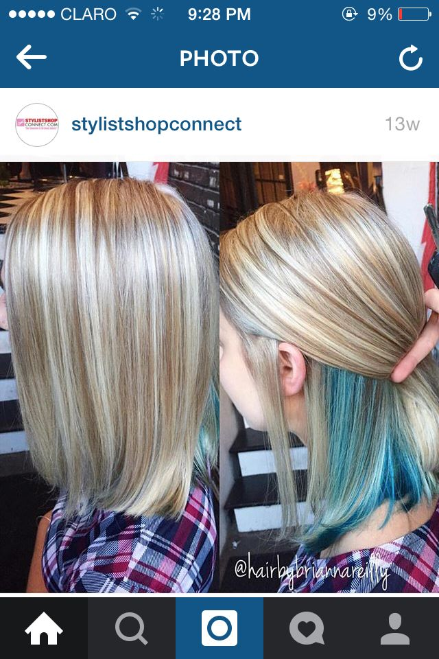 Hidden Blue Kids Hair Color Hidden Hair Color Underlights Hair