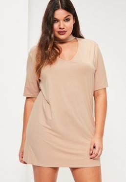 50cc67d6a670 Plus Size Nude Choker Neck T-shirt Dress | Mini Dress | Plus size ...