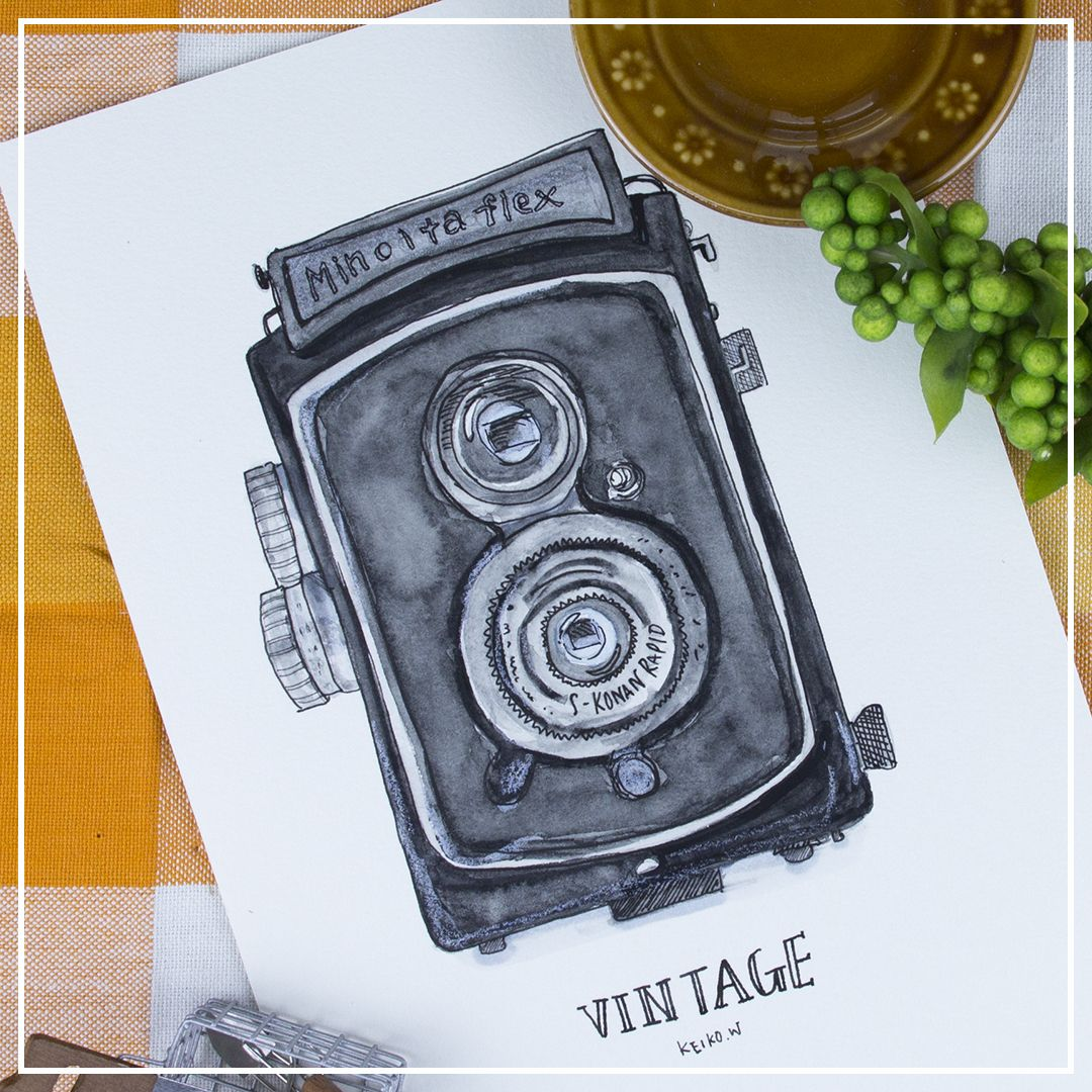vintage camera watercolor drawing painting illustration 水彩画