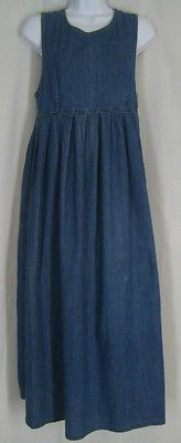 VINTAGE LAURA ASHLEY COUNTRY GIRL BLUE DENIM SPRING PINAFORE DRESS 6