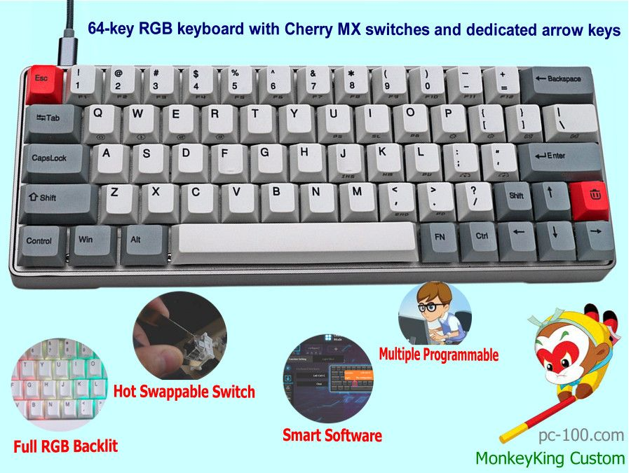 Best 60 Mechanical Keyboard Hot Swappable Cherry Mx Switches Full Rgb Backlit With Dedicated Arrow Keys Smart Driver Software P Keyboard Mechanic Switches