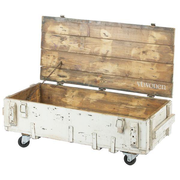 Vintage Couchtisch ARMY Truhe Rollbar Weiß Auswahl: 1 X Vintage Couchtisch  ARMY Truhe Rollbar Weiß
