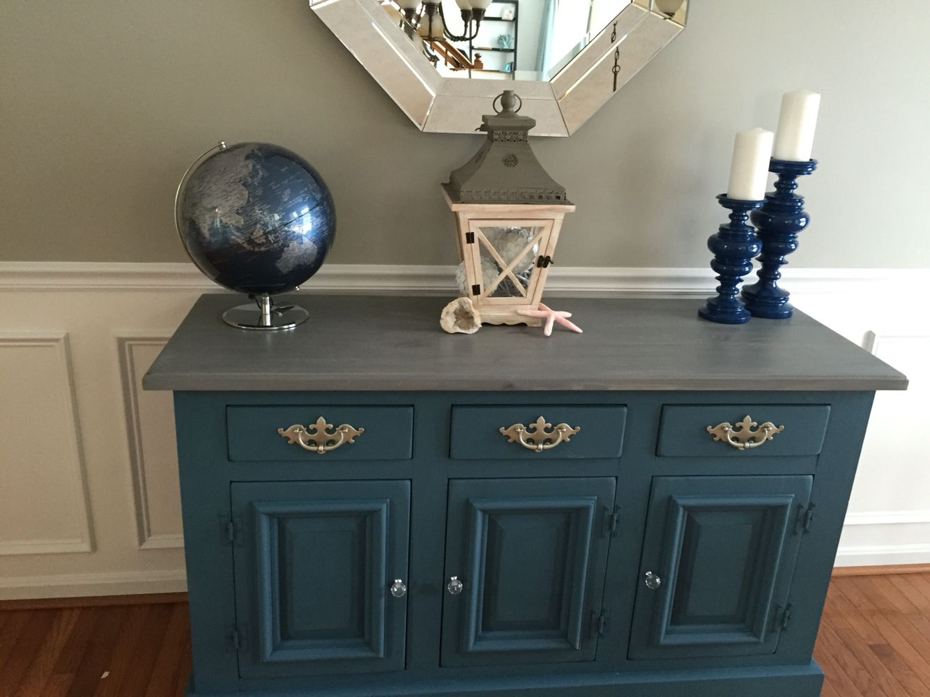 Painted Dining Room Buffet Using Annie Sloan Chalk Paint Aubusson Blue And Weathered Gray Stained Top