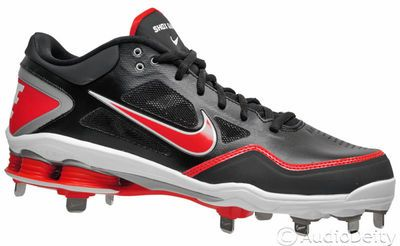 timeless design 3e646 ea903 New Nike Shox Gamer Mens Baseball Cleats w  Metal Studs, Red   Black