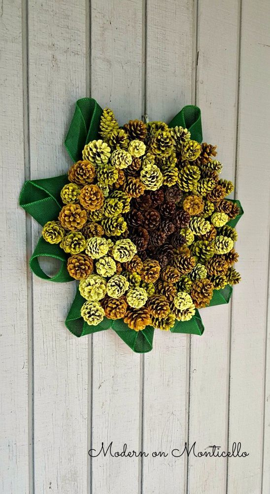 Paint a Pinecone Sunflower Wreath