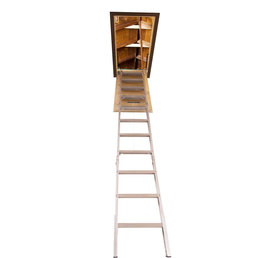 Louisville Elite 7 67 Ft To 10 25 Ft Rough Opening 25 5 In X 54 In Folding Aluminum Attic Ladder With 375 Lbs Capacity Lowes Com Attic Ladder Ladder Weatherstripping