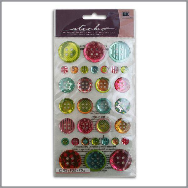 Stickers - Botones estampados 32 piezas