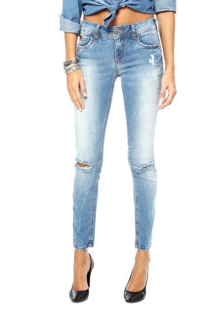 50e2f0261 Calça Jeans Colcci Estonada Skinny Azul - Marca Colcci