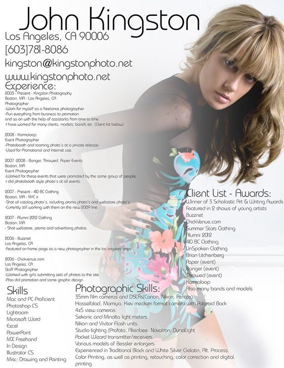Sample Photographer Resume | Background Photograph Is One Of The