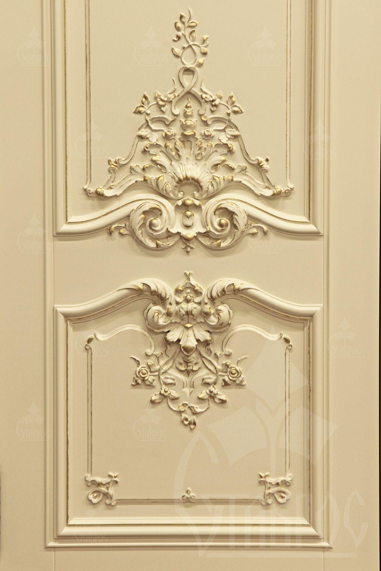 Резная дверь из массива дерева с декором в стиле Барокко. Carved ...