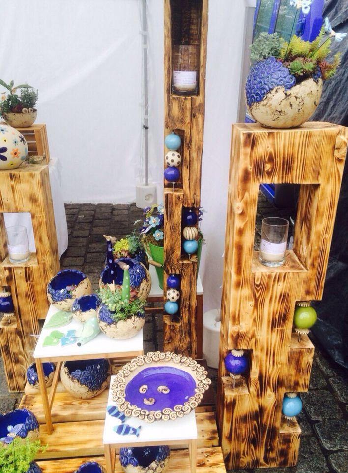 holzstele mit keramik meine keramik kunst f r den. Black Bedroom Furniture Sets. Home Design Ideas