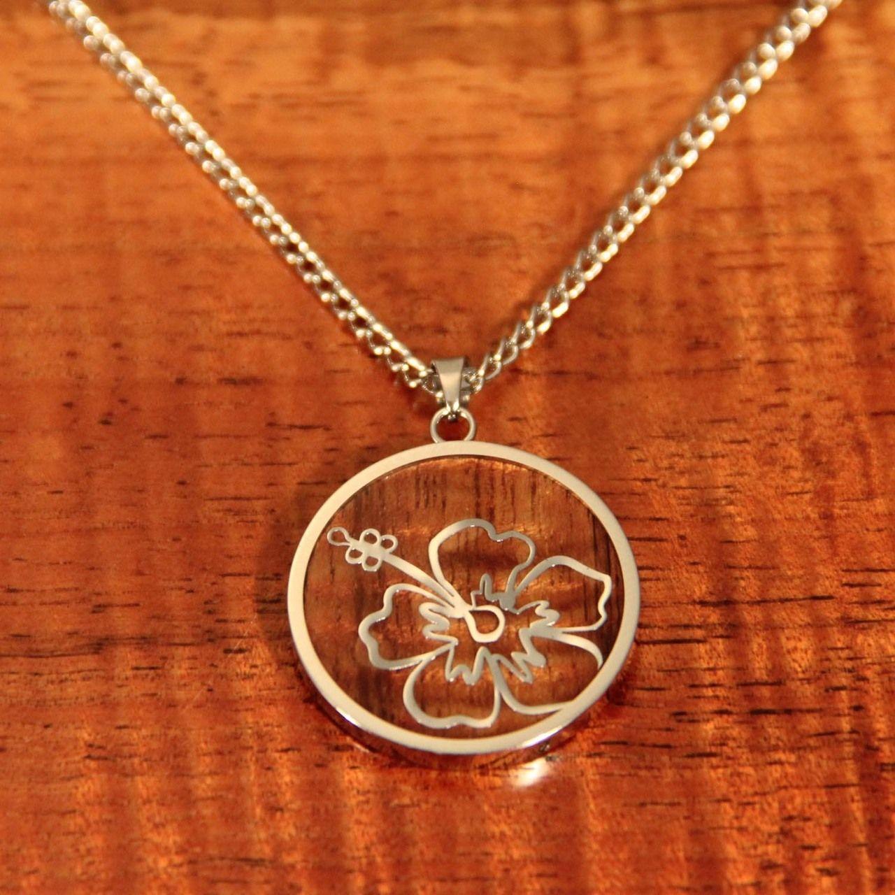 Latitude's Collection Hibiscus Koa Necklace Wood
