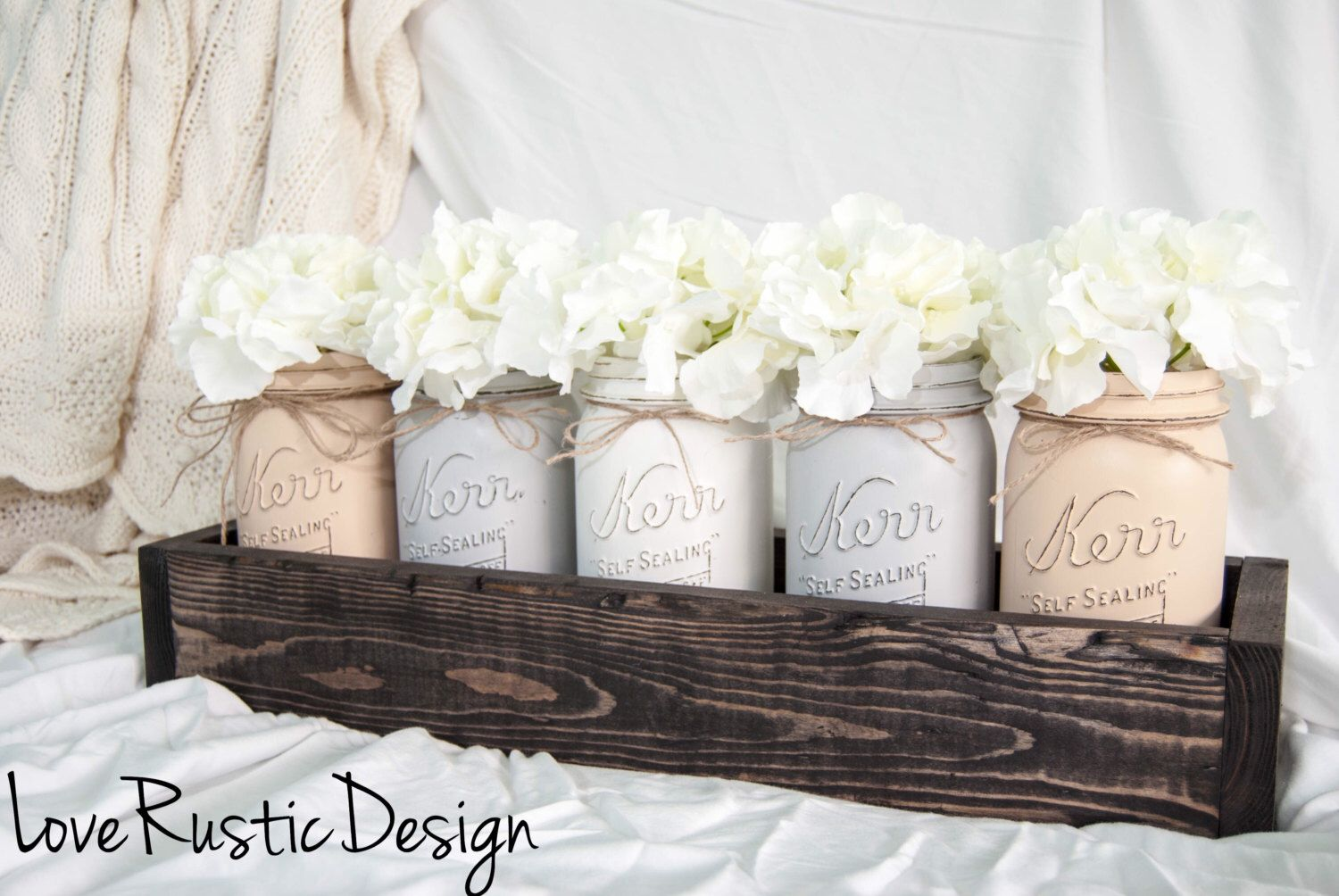 5 Neutral Toned Mason Jar Centerpiece in Rustic Planter, Rustic Home Decor, Mason Jar Decor, Rustic Decor, Canada, Country Decor by LoveRusticDesign on Etsy https://www.etsy.com/listing/477431146/5-neutral-toned-mason-jar-centerpiece-in