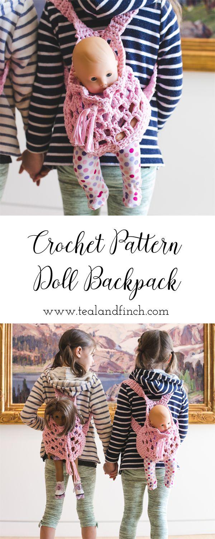 doll backpack carrier crochet pattern, crochet gift idea, kids ...