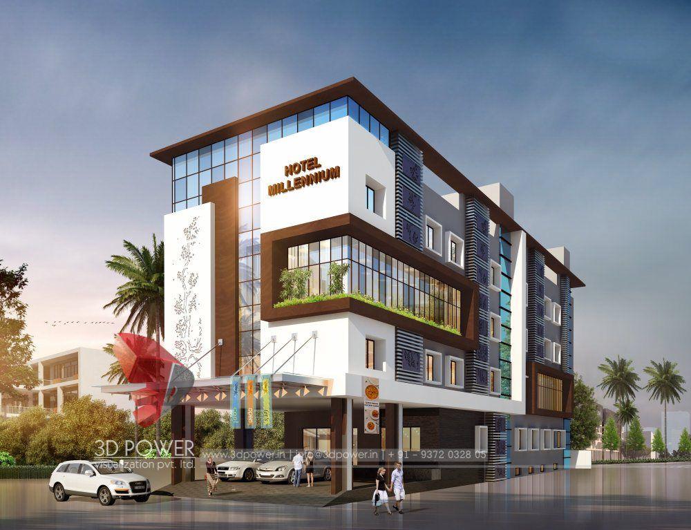 Building Exterior: 3D Visualization Of Hotel Millennium