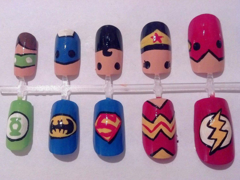 Justice League Nail Art by MaryMars on Etsy | Nails | Pinterest ...
