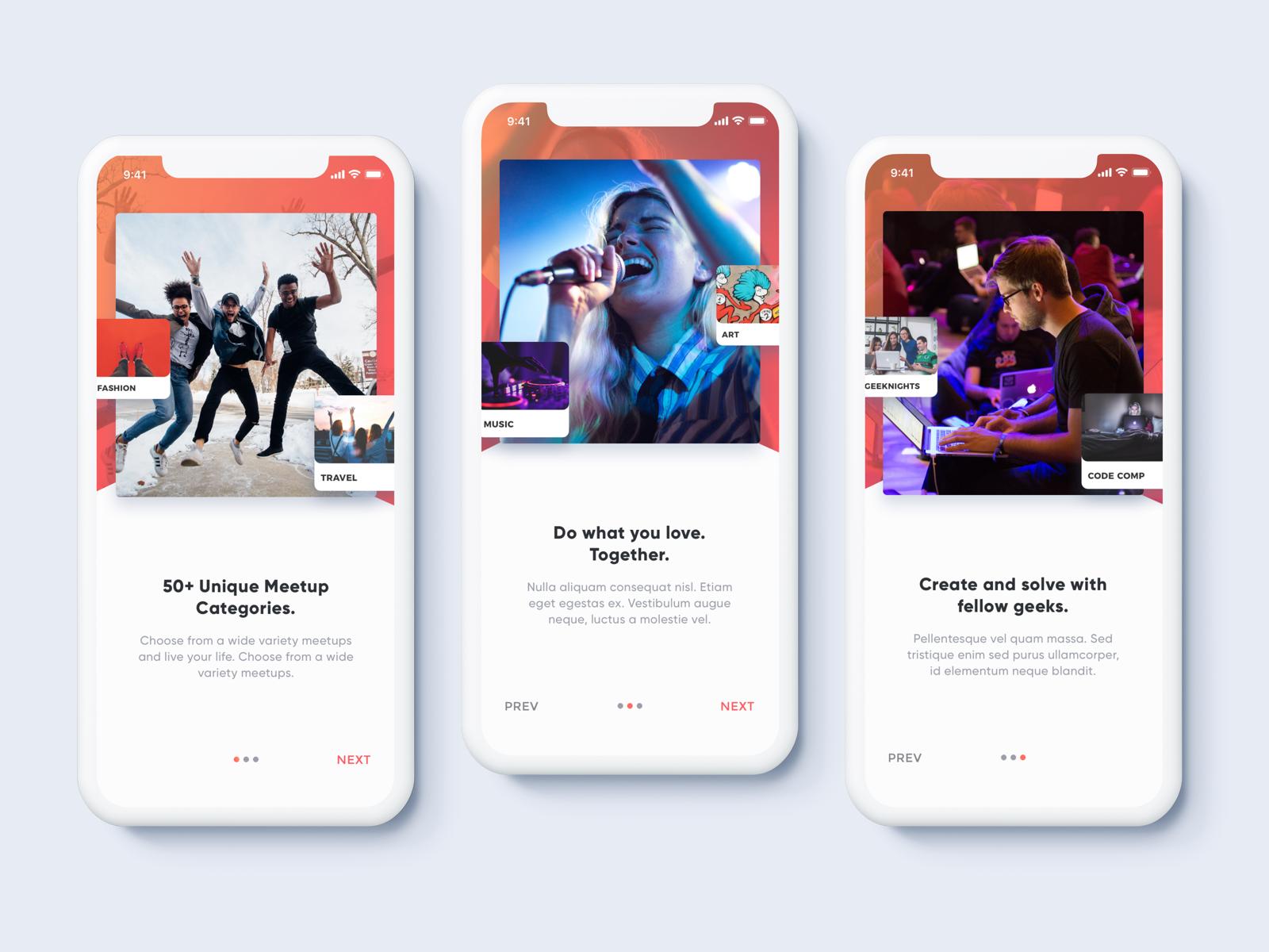 Meetups App Onboarding Steps App, Show, tell, App design