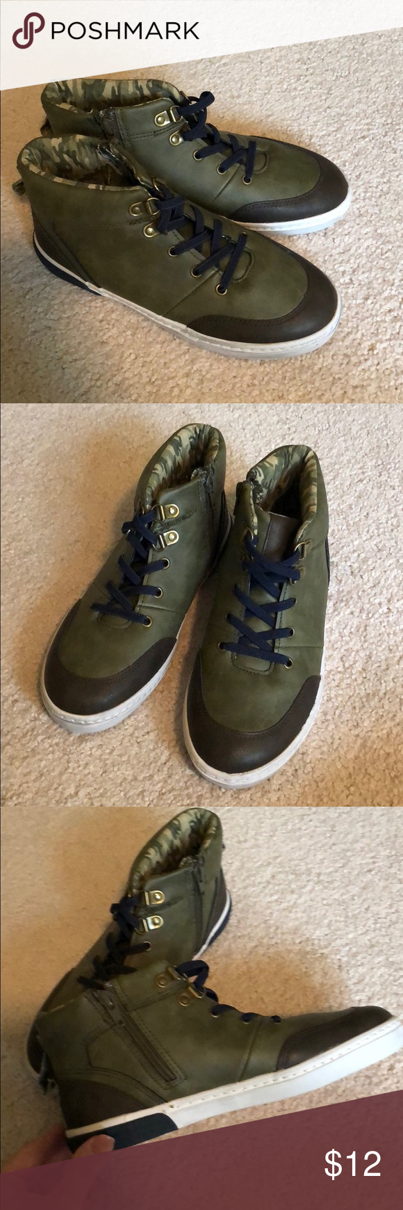 98a2b0b8175c2 Boys art class army green tennis shoes size 4 The shoes are army green with  camo