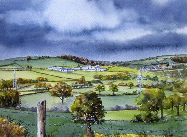 "Storm over Carmarthen (from Green Castle Corner)  12x16""     £185"