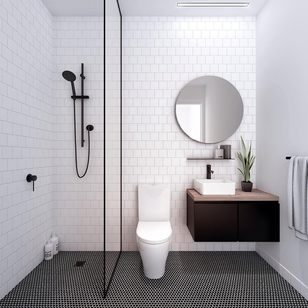 See Dark Floor Contrasts With White Tile With Black Edge White Walls And Dark Accessories Gary S Kitchen Bathroom Floor Tiles Bathroom Design Black Bathroom