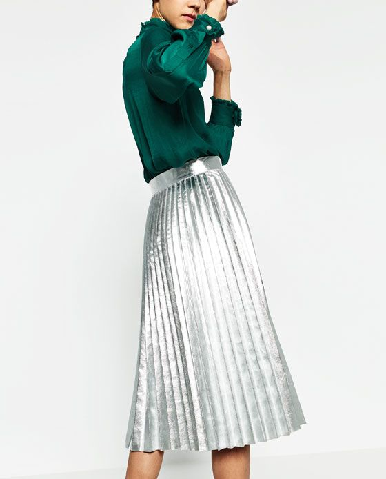 4ce730d0466c5 Image 6 of METALLIC ACCORDION-PLEAT SKIRT from Zara