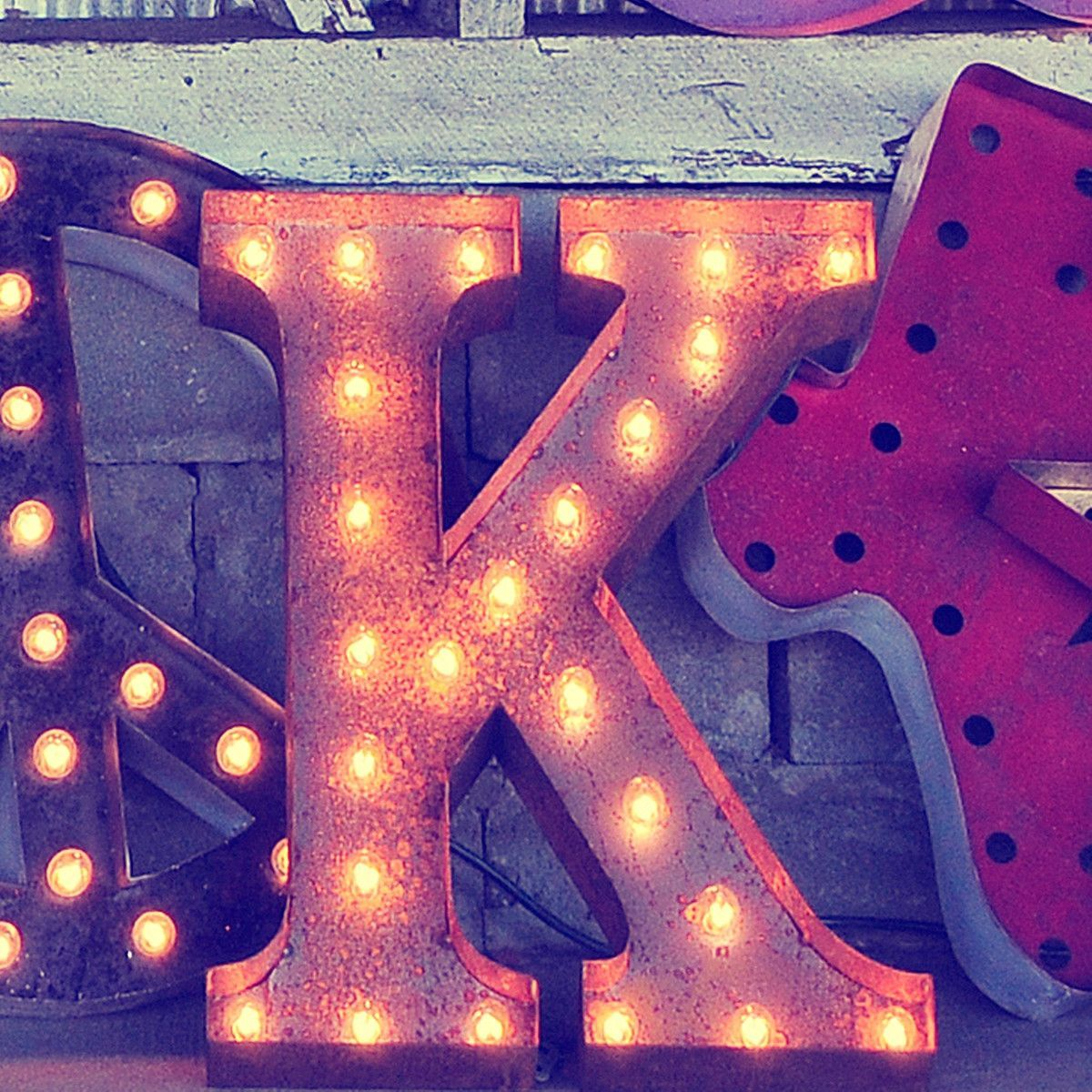24 Letter K Lighted Vintage Marquee Letters Rustic Vintage Marquee Letters Lighted Marquee Letters Vintage Marquee