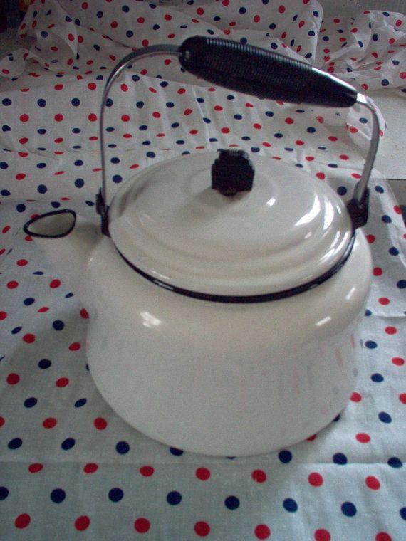Vintage Black and White Enamelware Coffee Pot or Tea by judym2, $45.00