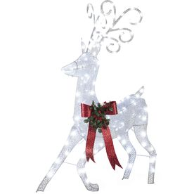 shop gemmy lighted deer outdoor christmas decoration with white led lights at lowescom - Lowes Lighted Christmas Decorations