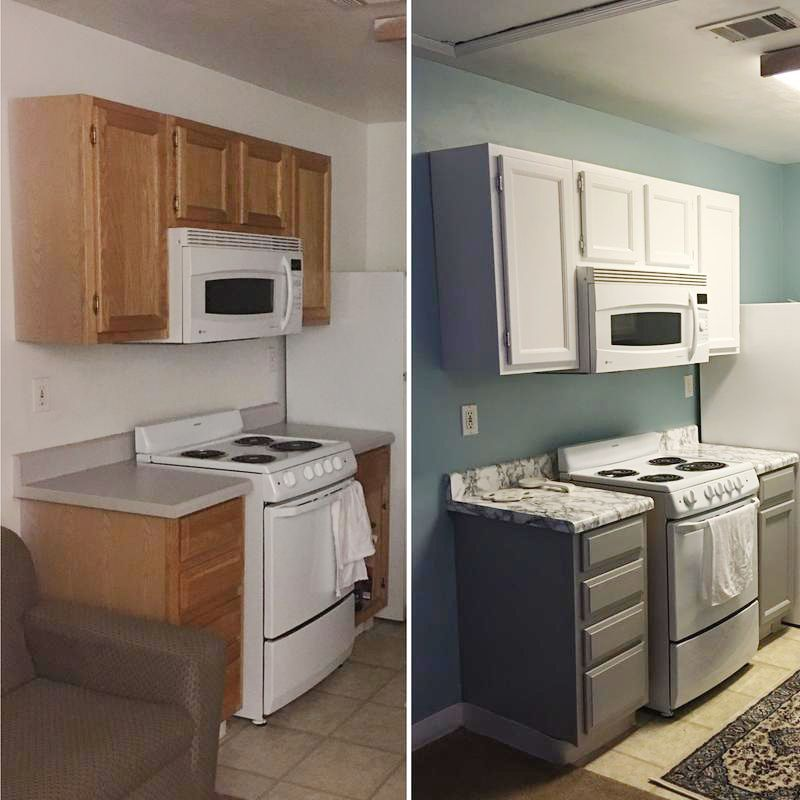 Before And After Of A Kitchen Renovation Using Our Grey And Black Marble Adhesive Film To Do Home Decor Kitchen Contact Paper Cabinets Rental Kitchen Makeover