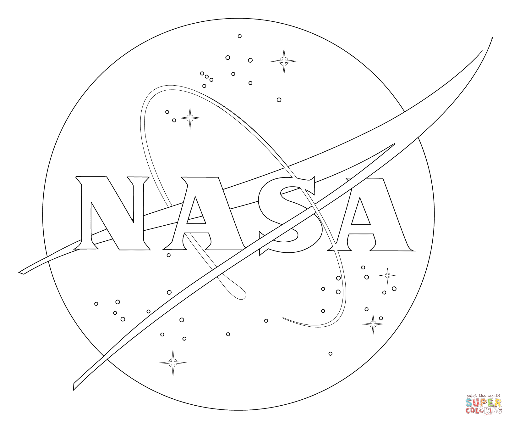 Nasa Logo Coloring Page From Spaceships Category Select