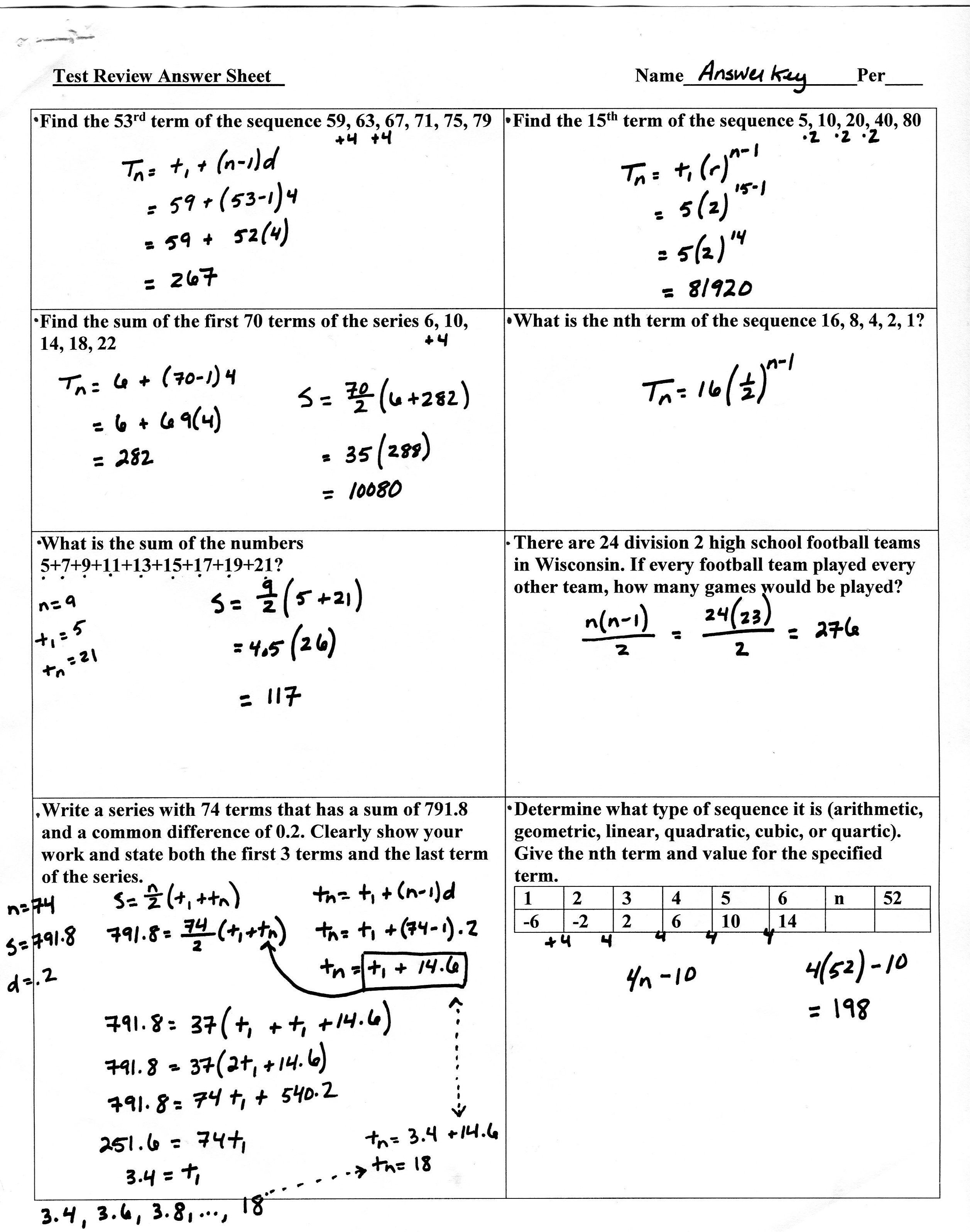 Geometric Sequence And Series Worksheet Answer Key