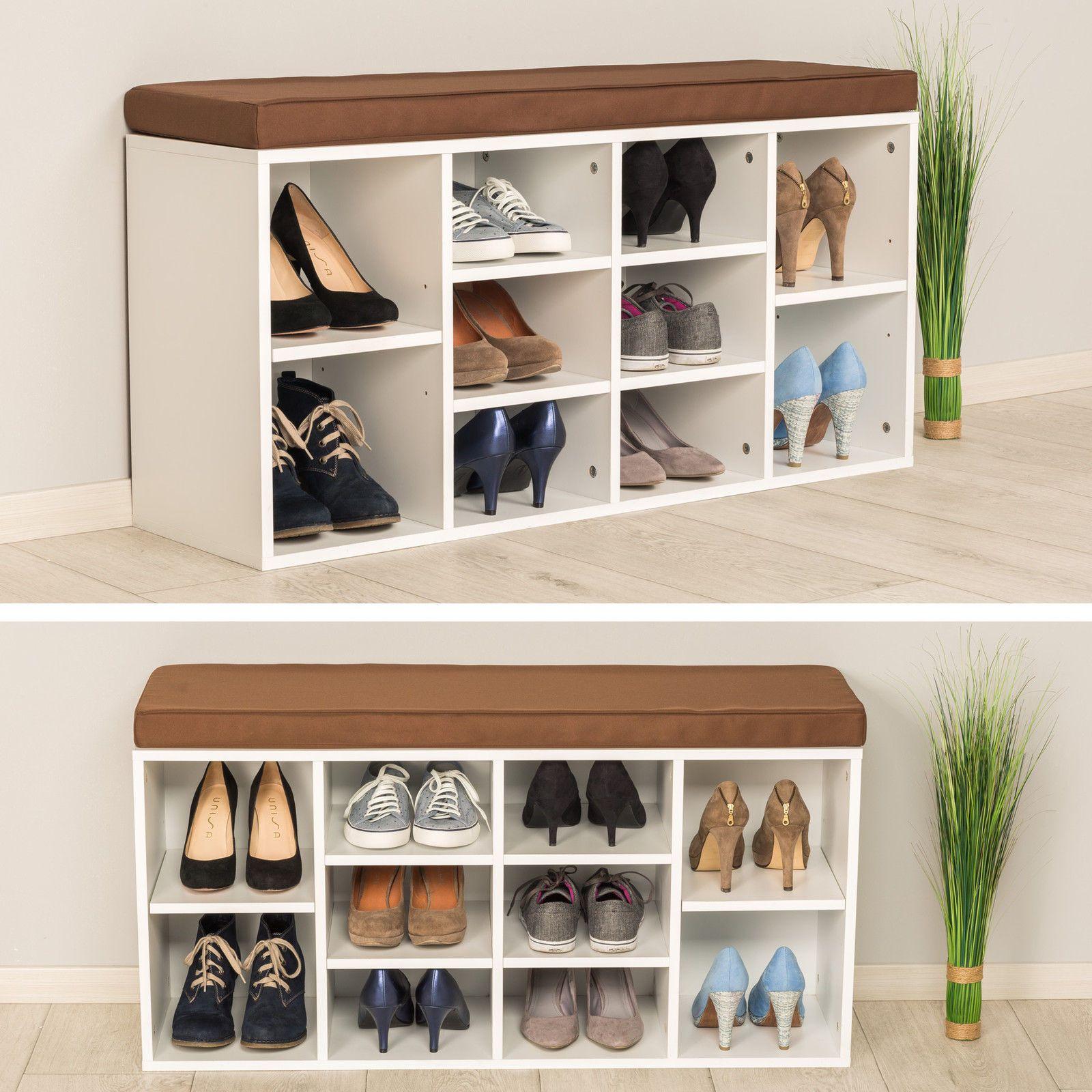 Banc De Rangement A Chaussures Avec Coussin D Assise Armoire 103 5x48x30cm Blanc Eur 72 90 Picclick Fr Meuble Chaussure Meuble Rangement Banc De Rangement