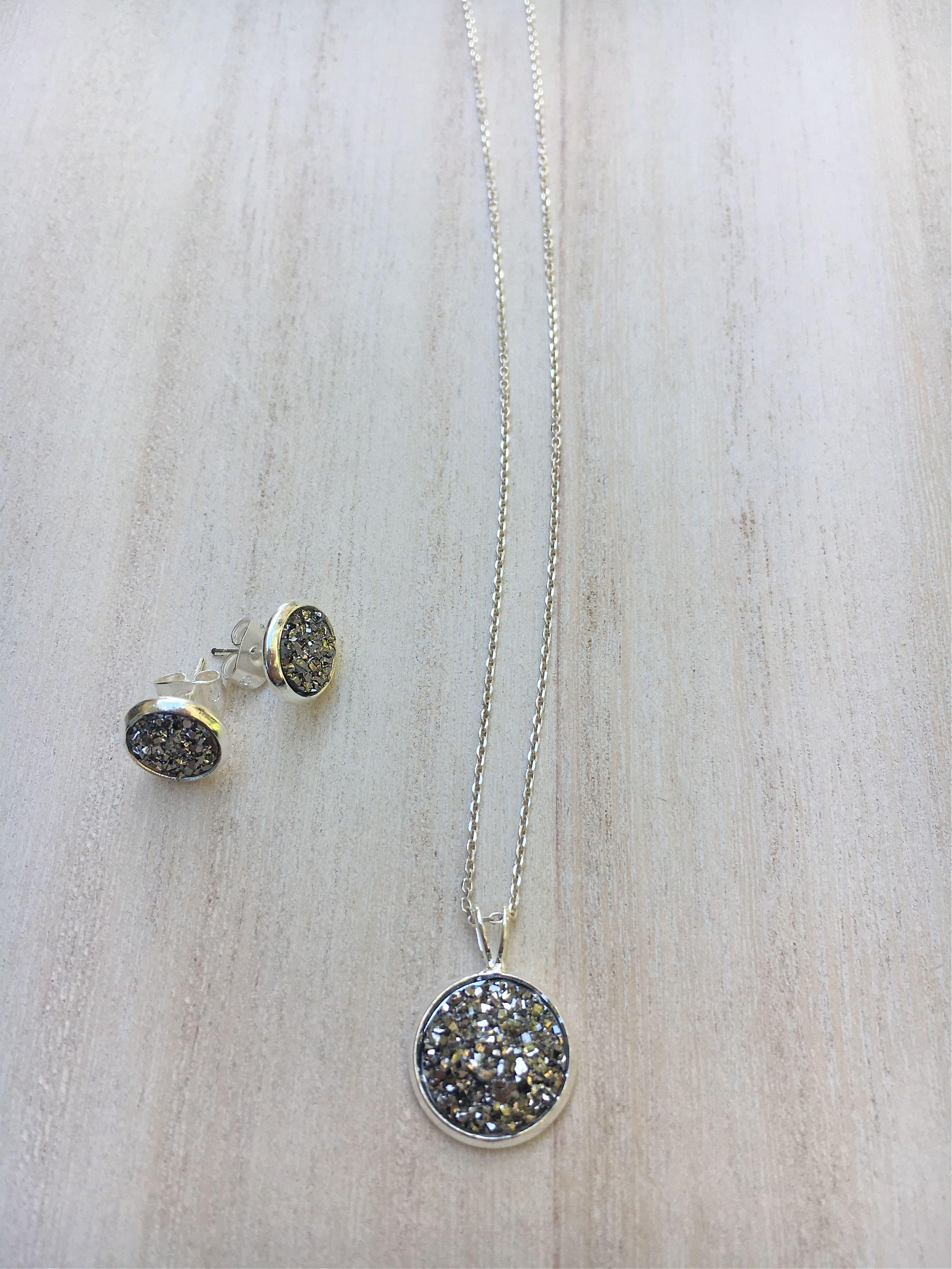 Metallic grey druzy pendant u stud earring set shop on etsy