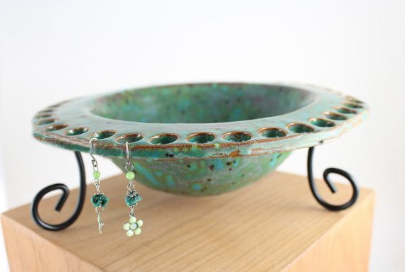 Rustic Handbuilt Ceramic Jewelry Bowl  Rustic Decor by ChiGallery, $28.00