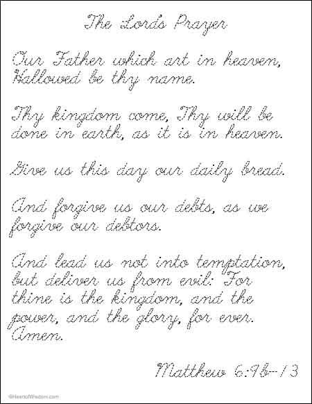 The Lords Prayer handwriting practice cursive and normal print ...