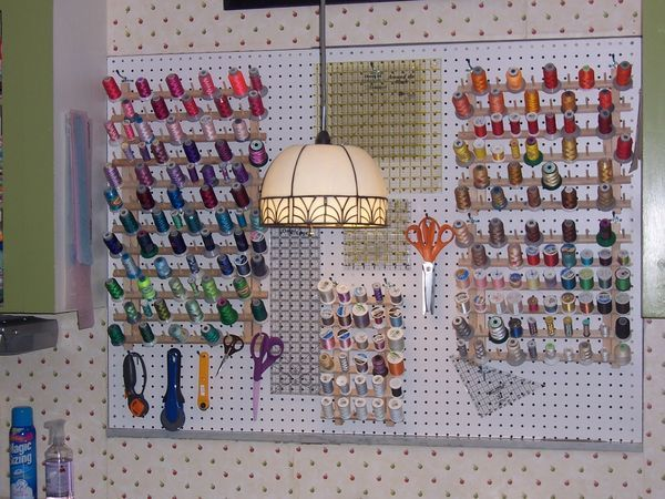 Peg Board Is Great For Storing Sewing Thread And Notions.   Peg Board Is  Great