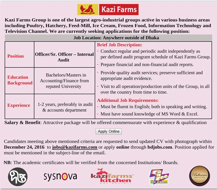 Kazi Farms Group Officer Sr Officer  Internal Audit Job